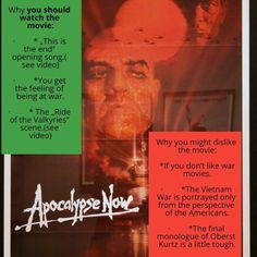 Quick review of Apocalypse Now by Francis Ford Coppola #francisfordcoppola #apocalypsenow #warmovies #warmoviereview #marlonbrando #vintagemoviesposter Ride Of The Valkyries, Apocalypse Now, Francis Ford Coppola, Cult Movies, Marlon Brando, See Videos, Grafik Design, Vintage Movies, The Past