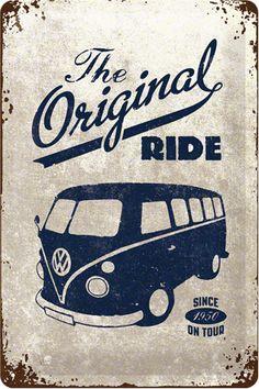 Cartel Vintage metálico relieve Volkswagen