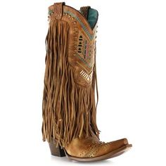 Corral Women's Aztec & Fringe Snip Toe Western Boots