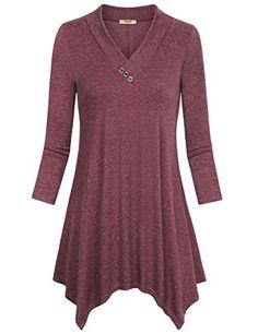 a2c070c974c Plus Size Tunic TopsTimeson Womens 34 Sleeve VNeck Assymetrical  Handkerchief Hem Swing Shirt Wine XLarge -