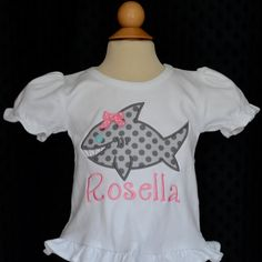 Personalized Girly Shark Applique Shirt or Onesie on Etsy, $25.00