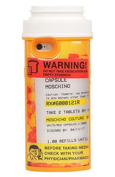 Free shipping and returns on Moschino iPhone 6 & 6s Case at Nordstrom.com. The perfect remedy for warding scuffs and scratches away from your phone, a tongue-in-cheek silicone case from Jeremy Scott's Spring/Summer 2017 Runway Capsule Collection for Moschino is cleverly designed to look like a pill bottle.