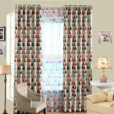 Modern Triangle Pattern Window Curtain Panel Eyelet Drape Hotel Cafe 100x250cm-in Curtains from Home & Garden on Aliexpress.com | Alibaba Group