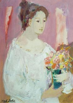 """Raul SOLDI. """"Mujer con flores"""".(pintor argentino)"""