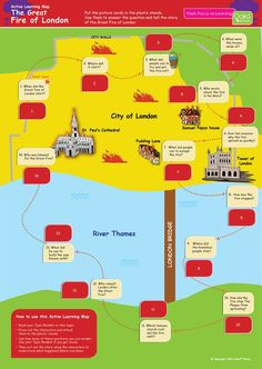 The History: Great Fire of London Revision Book. Tailored for young, dyslexic learners. Designed and written by SEN Specialists. Fire London, Great Fire Of London, The Great Fire, London Map, Learning Maps, Learning Activities, Kids Learning, London Activities, Uk History