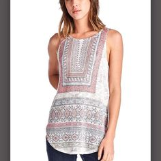 Boho knit tank top! Very pretty boho style knit tank top.  Super soft and so comfortable.  Very beautiful design throughout.  I have 2 small - 2 med and 2 large available. Thanks!:) April Spirit Tops Tank Tops
