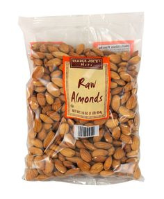 """Raw Almonds - """"Starved but don't have time for a meal? Try a few of these to hold you over. They're a great source of vitamin E and protein, taste good and fill you up. Due to their high vitamin E content, almonds are also a wonderful way to nourish dryskin,"""" says Kimberly."""