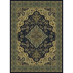 The navy background of this traditional style area rug sets off the stunning details of ivory, gold, and green in an oriental center-medallion design. Made of easy-care olefin, this piece will adorn your traditional or contemporary room with grace.