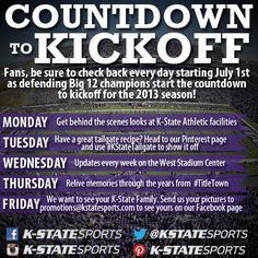 """""""Every day we're doing something new! Follow us here as well as our Facebook, Twitter, and Instagram so you don't miss a thing! Only 60 days until kickoff!"""" - K-State Sports"""