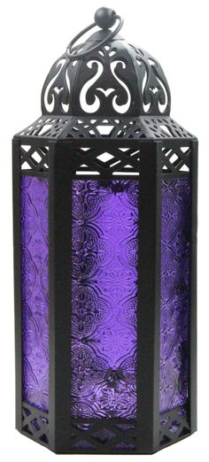 Amazon.com: Purple Table/Hanging Hexagon Moroccan Candle Lantern Holders: Home & Kitchen