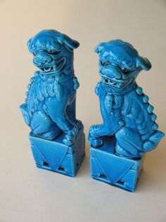 old Estate Chinese ceramic FOO DOGS Teal blue monochrome porcelain animal pair