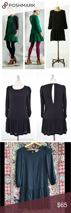 """Anthropologie Drop Waist Dress Anthro Dropwaist Mini Dress by Meadows Rue. Sweet and easy! Back opening and loose fit. In excellent condition. 17"""" underarm to underarm and 32.5"""" L Anthropologie Dresses Long Sleeve"""
