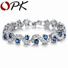 [ 22% OFF ] Opk Jewelry Fashion Eu Style Silver Color Blue Crystal Stone Bracelets & Bangles Luxury Romantic Wedding Jewelry Gift, Ds931