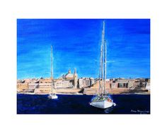 Print-Valletta landscape art,sea landscape art,boats art,nature art, by ananogueiraart on Etsy