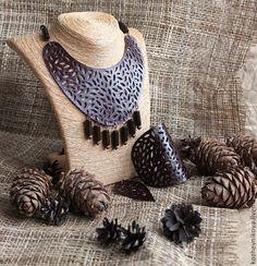 Колье и браслет кожаные Deep Forest. Handmade.