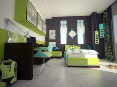 Kids Room: Hip Modern Teen Boy Space With Large Richly Dark Brown Finished Desk Spans The Wall Also Green Glass Door Cabinets Plus White Grey Walls And Single Sized Platform Bed Furniture: 12 Kids Bedrooms with Cool Built-Ins Inspirations