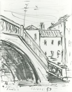 """E. Besozzi pitt. 1959 Ponte (Venezia) pennarello su carta cm. 16,5x13 arc. 39 Bibliografia: E. Baj, F. B. Negri, P. Tolu monografia """" Fogli ritrovati"""" 1991 ripr."""