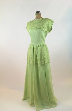 54514f8654 1940s Dress - Vintage Pistachio Green Formal Gown - 1940s Women s Fashion -  Chiffon + Lace Peplum + Rhinestones - 1940s Lace + Chiffon Gown
