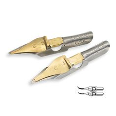 These were my favorite calligraphy pen nibs (Speedball C4 and C5) which fit into a handle then were dipped into a bottle of ink.