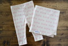 Modern personalized baby blankets and matching baby clothes. Too cute.