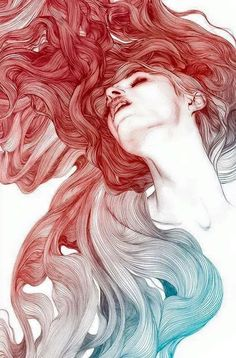Illustration by Gabriel Moreno. The color and movement of the hair give movement to the entire composition. The bright red hair is also nicely contrasted by the light tone of the figure's face and neck. Art And Illustration, Art Amour, Street Art, Arte Sketchbook, Oeuvre D'art, Love Art, Art Inspo, Painting & Drawing, Gabriel