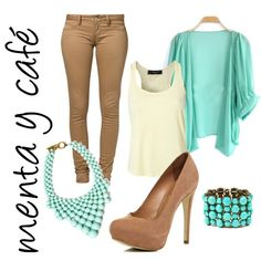 menta y cafe - mint and brown outfit.