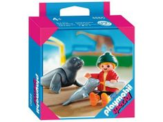 "Playmobil Child with Seals by Playmobil. $12.49. Includes one figure. Playmobil ""special"" refers to a set made up of one-figure with accessories, the selection of which changes annually. A Playmobil Special set 2007. Ages 4 and up. A perfect addition to any Zoo set. Enjoy a day at the zoo feeding the seals. This Playmobil Special Child with Seals comes with one figure, two seals and bottle. A Playmobil ""special"" refers to a set made up of one-figure with accessories,..."
