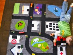upcycle playmat for boys and their cars Sewing Projects For Kids, Sewing For Kids, Baby Sewing, Fun Projects, Diy For Kids, Gifts For Kids, Sewing Crafts, Car Play Mats, Coin Couture