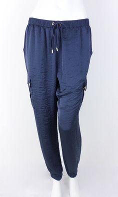 NEW MICHAEL Michael Kors Blue Satin Cargo Joggers Casual Pants Trousers SIZE 10 #MichaelKors #CasualPants