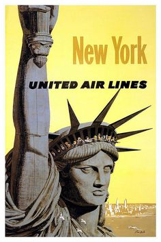 United Air Lines New York Statue of Liberty Vintage Travel Poster