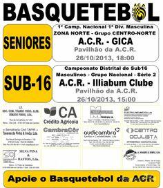 Basquetebol: Próximos Jogos ACR > 26 Outubro 2013 @ Pavilhão da ACR, Vale de Cambra #ValeDeCambra #basquetebol
