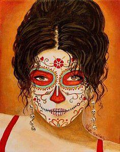 Girl Painting - La Muerte Elegante by Al  Molina