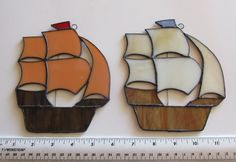 Stained Glass Suncatcher Ship by JohnWallaceGlassArt on Etsy, $14.00