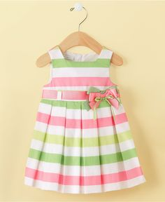 Baby Girls Bold Stripe Dress $48.50 Sewing For Kids, Baby Sewing, Ma Petite,