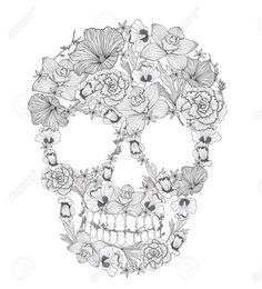 Imagem de http://previews.123rf.com/images/lapesnape/lapesnape1210/lapesnape121000011/15885944-Skull-from-flowers--Stock-Vector-skull-tattoo-de.jpg.