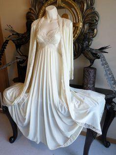 Vintage Olga Nightgown Robe Retro Spandex M XL Plus RARE Lingerie Couture Cream | eBay