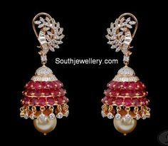 ruby diamond jhumkas