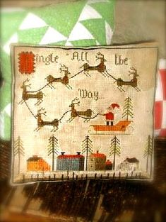 Primitive Santa riding in his sleigh ~ have the reindeer taken a wrong turn?    Stitch count: 144 w x 144 h  Model shown stitched onto 18ct aida