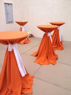 Or use for outstanding hat display in windows or storefront. #judithm cocktail tables #simple #beautiful #orange #white to achieve this look visit www.chaircoverfactory.com