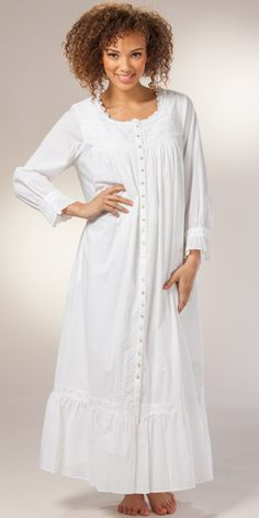 Eileen West Button-Front Nightgown Robe Cotton Long White Robe - Mirabelle  Nightgown 3b86804bd