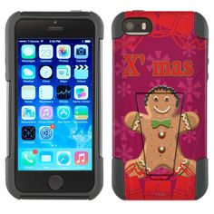 Apple iPhone 5 Xmas Gingerbread Man on Red Hybrid Case