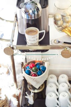 Great idea for entertaining. Styled coffee bar cart. Post includes coffee cocktail recipe.