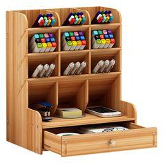 Diy Wooden Desk, Wooden Desk Organizer, Diy Desk, Wooden Storage Boxes, Office Supply Storage, Desk Organization Diy, Home Office Storage, Office Desk, Buy Office