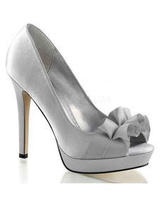 357539a76c94 ESCARPINS SATINÉS LUMINA ARGENTÉS FABULICIOUS Silver Peep Toe Heels