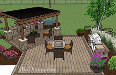 553 square foot patio design with contrasting paver patterns, grill station, cedar pergola and outdoor fireplace. Patio Pergola, Backyard Patio Designs, Backyard Projects, Pergola Plans, Backyard Landscaping, Gazebo, Pergola Kits, Patio Ideas, Pavers Ideas