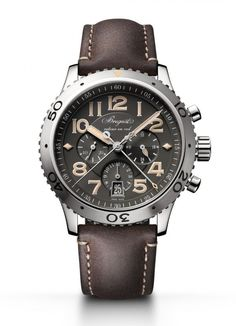 The #breguet Type XXI 3817 comes equipped with a flyback chronograph function, a 42-mm steel case and boasts an all-new slate-gray dial and a see-through sapphire caseback, through which the wearer can glimpse the self-winding movement, the numbered and signed Breguet Caliber 584Q/2.  More @ http://www.watchtime.com/watch-to-watch/breguet-type-xxi-3817/ #watchtime #chronograph #pilotswatch #Baselworld2016