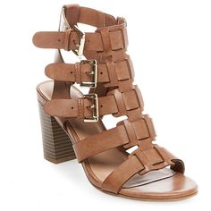 Women's Cassandra Buckle Heel Sandal Pumps Merona - Taupe (Brown) 6.5