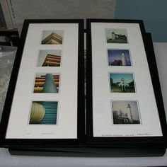 Matted and framed collections of Polaroids