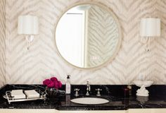 White On White Single Sconce In Between Two Mirrors