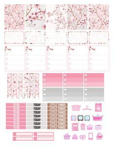Printable Planner Stickers Cherry Blossom Japanese by LaceAndLogos